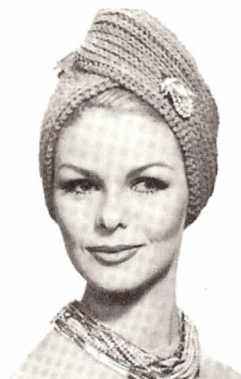 Knitted Head Scarf Pattern : Vintage Knitting PATTERN to make KnittedTurban Hat Head Wrap Scarf Cap