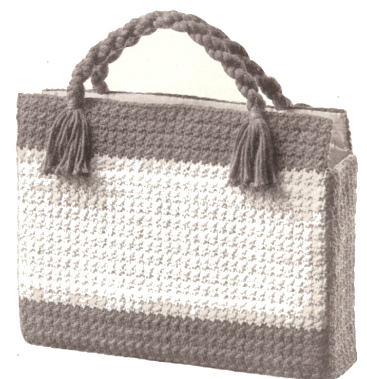 Knitted Shopping Bag Pattern : Vintage Crochet PATTERN to make Shopping Briefcase Laptop Knitting Bag
