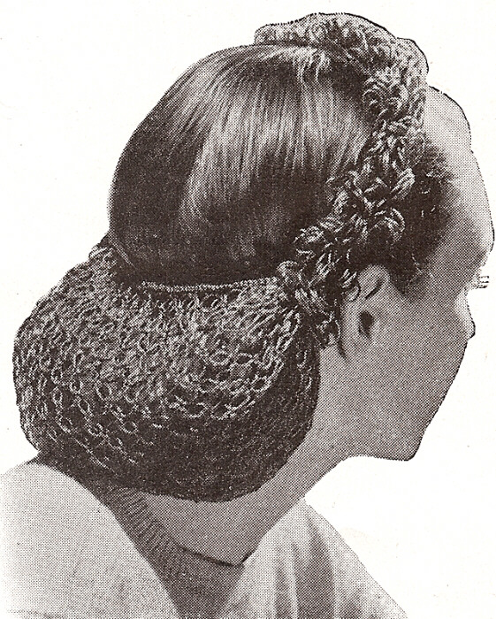 Crochet Hair Net Pattern : Vintage Crochet PATTERN to make Snood Hair Net Looped Head Band 1940s ...
