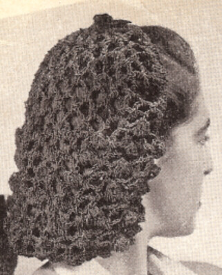 Crochet Hair Net Snood Pattern : Vintage Crochet PATTERN Snood Hairnet hair net fishnet eBay