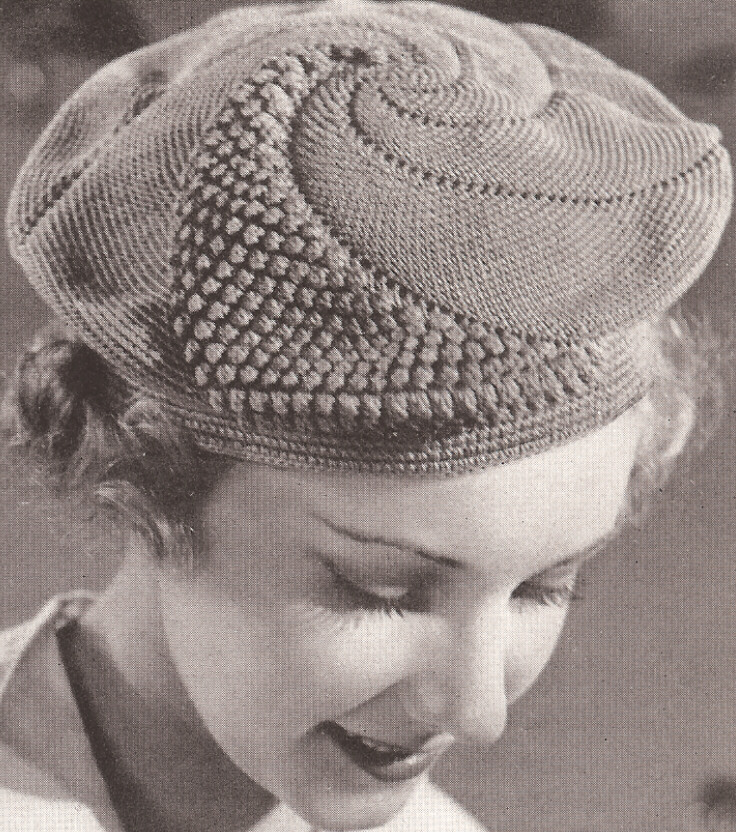 Crochet Stitches Vintage : Vintage Crochet PATTERN to make Popcorn Beret Pancake Hat Bag Purse ...