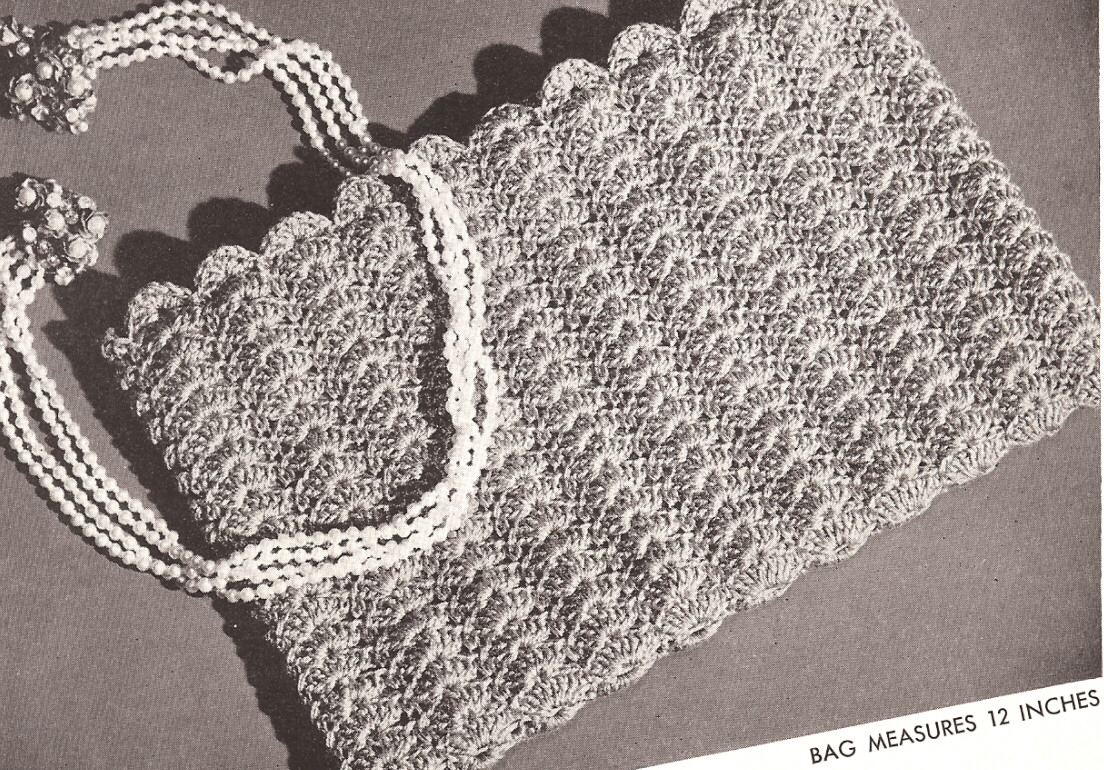 Free Crochet Shell Purse Pattern : Vintage Crochet PATTERN to make Evening Bag Purse Flat ...