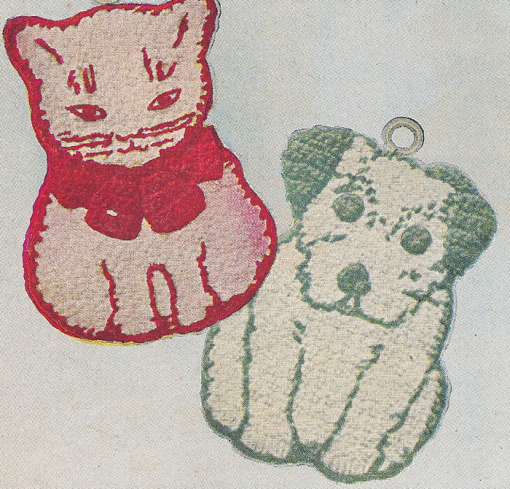 Crochet Patterns Vintage Potholders : Vintage Crochet PATTERN to make Pot Holder Cat Dog Kitten Puppy Kitty ...