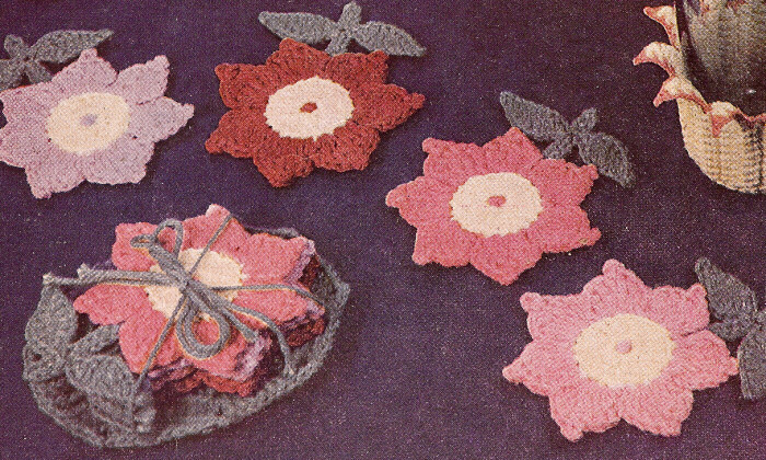 Vintage Crochet PATTERN Flower Floral Glass Coaster Set eBay