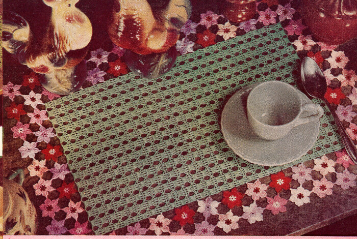 Crochet Placemats : Vintage Crochet PATTERN Flower Placemats Applique Three eBay