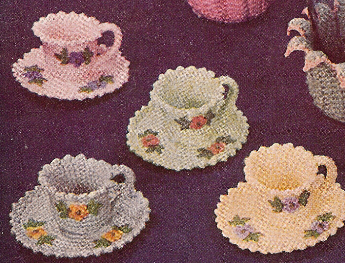 Free Vintage And Crochet Patterns : Vintage Crochet PATTERN to make Teacups Nut Cups Candy ...