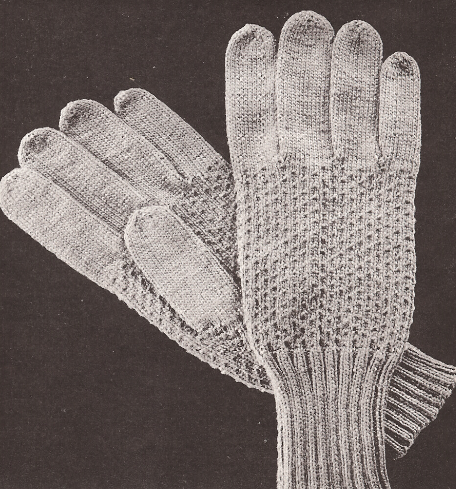 Mens Mittens Knitting Pattern : Vintage Mens GLOVES Textured design Knitting PATTERN
