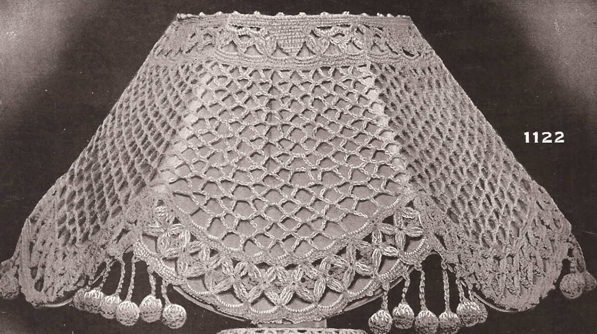 Free Pattern Crochet Lampshade : Vintage Antique Crochet Lampshade Shade Pattern 1900s eBay