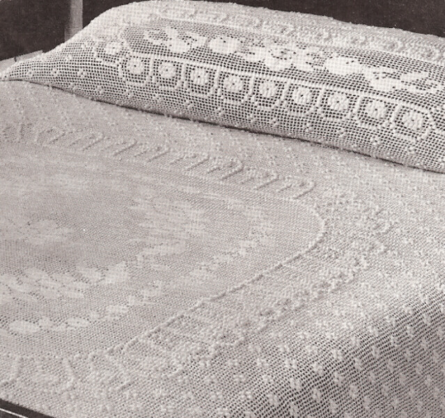 Crochet Bedspread Patterns : Vintage Crochet Cameo Rose Filet Bedspread Pattern