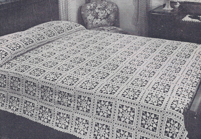 Vintage Crochet Pattern Fairy Ring Bedspread Design Ebay