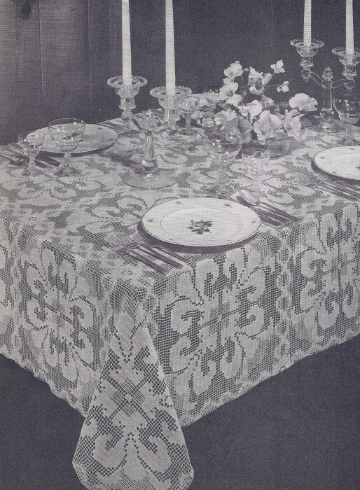 Crochet Tablecloth : Details about Vintage Crochet PATTERN Shadow Filet Orchid Tablecloth