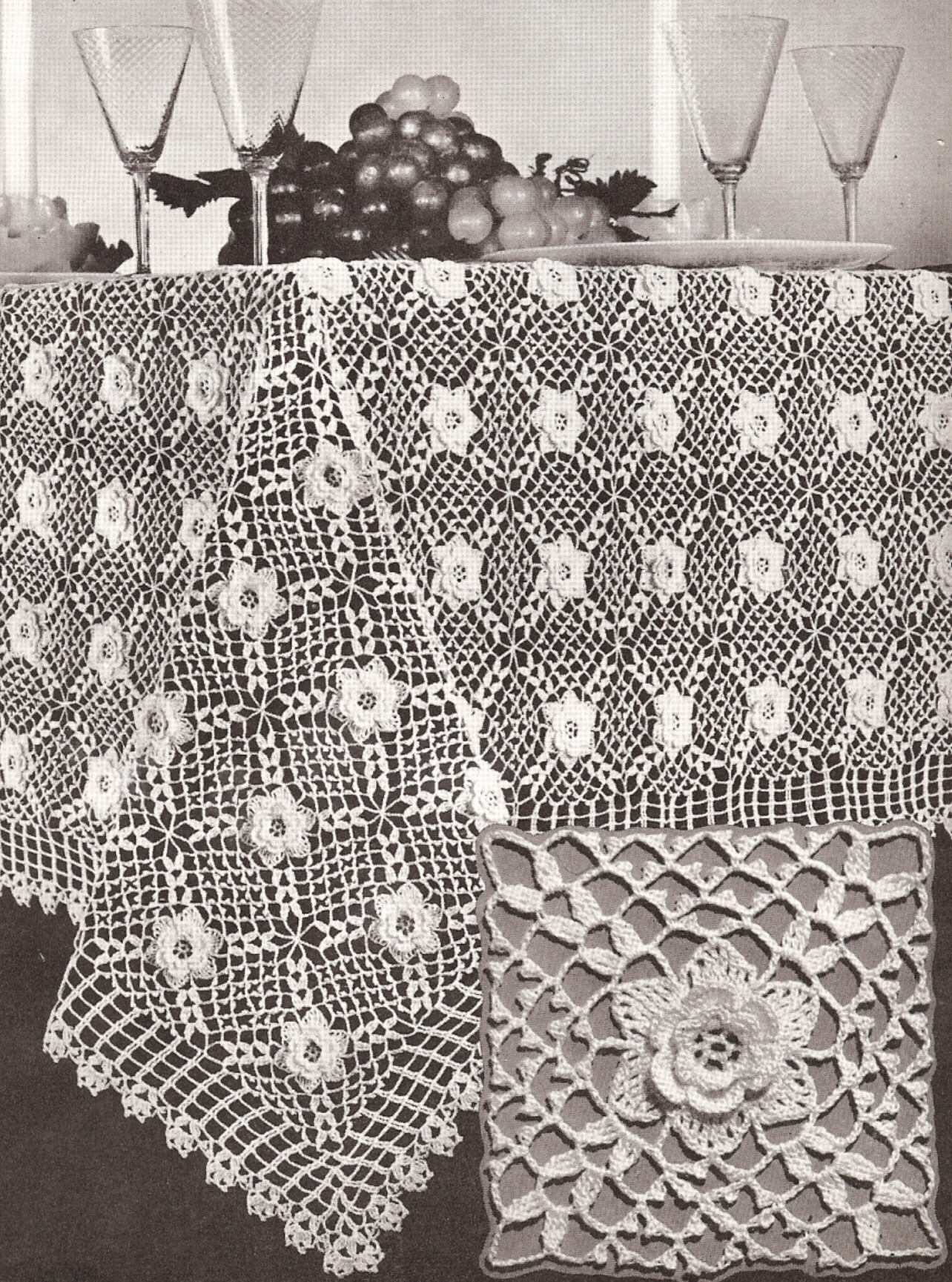 Crochet Tablecloth Pattern : Details about Vintage Irish Rose Crochet MOTIF Tablecloth Pattern