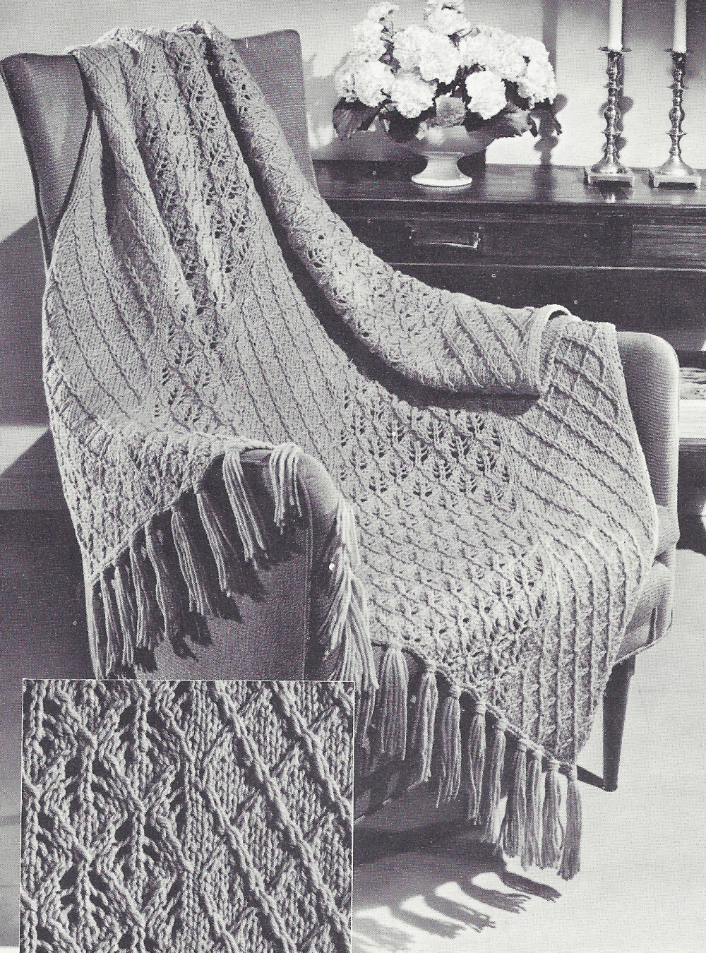 Vintage Knitting PATTERN to make Knitted Afghan/Throw ...