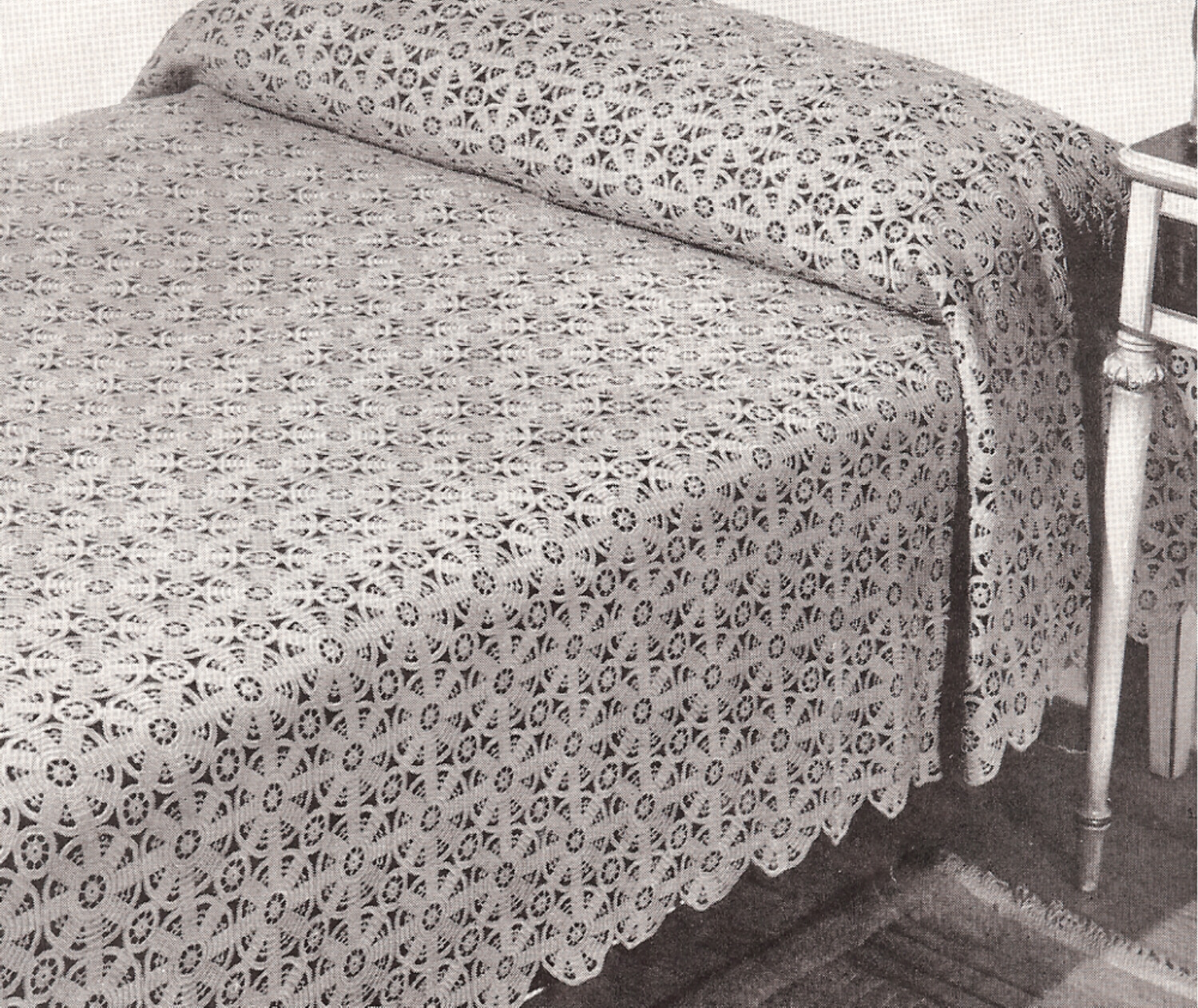 Crochet Bedspread : Vintage Crochet MOTIF BLOCK Bedspread Magic Pattern eBay