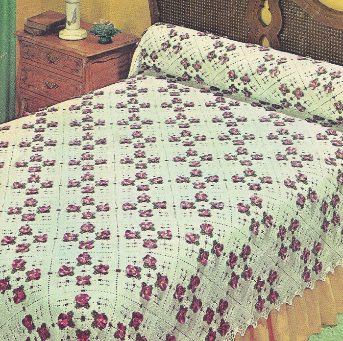 Vintage Crochet PATTERN to make Pansy Bedspread Motif Square Flower ...
