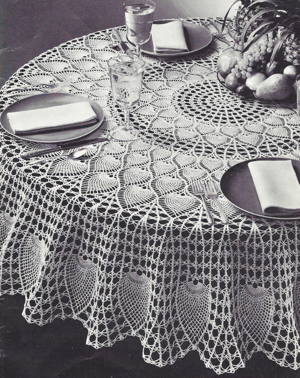 ... Crochet Pattern to make Pineapple Petals Design Round Tablecloth 72