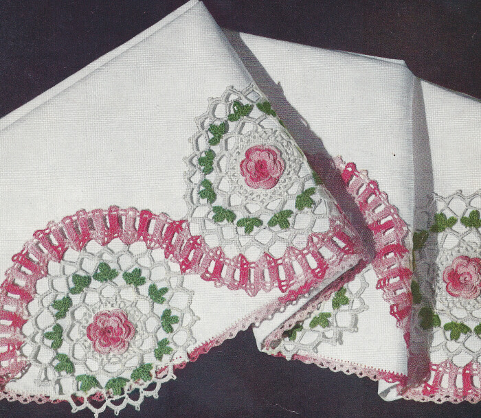 Vintage Crochet Pattern Rambling Rose Edging Motif eBay