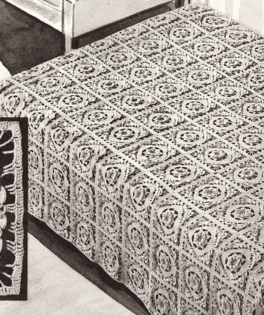 Crochet Bedspread Patterns : rose filet crochet square motif pattern tablecloth bedspread pattern ...