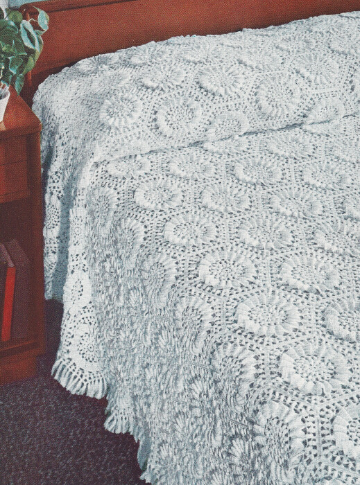 Crochet Bedspread Patterns : Details about Vintage Crochet Pattern Sunflower Motif Bedspread