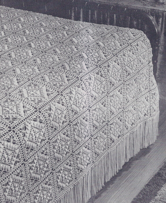 Crochet Bedspread Patterns : Vintage Crochet PATTERN MOTIF Block Bedspread Textured