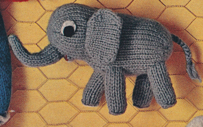 Easy Elephant Knitting Pattern : Vintage Knitting PATTERN Little Elephant Doll Toy 4