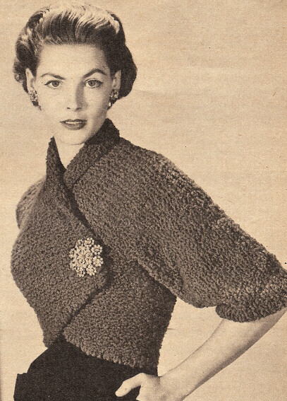 Vintage Knitting PATTERN to make Angle Shrug Bolero Shortie Jacket Nubby Angl...