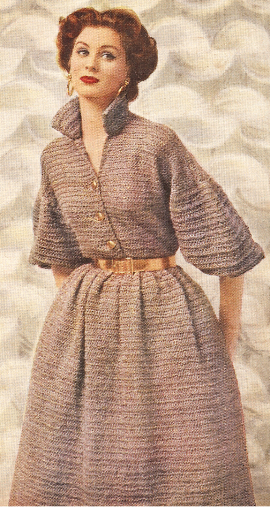 Simple Knit Dress Pattern : Vintage Knitting PATTERN to make Quick-Knit Designer Dress Easy BrownDress ...