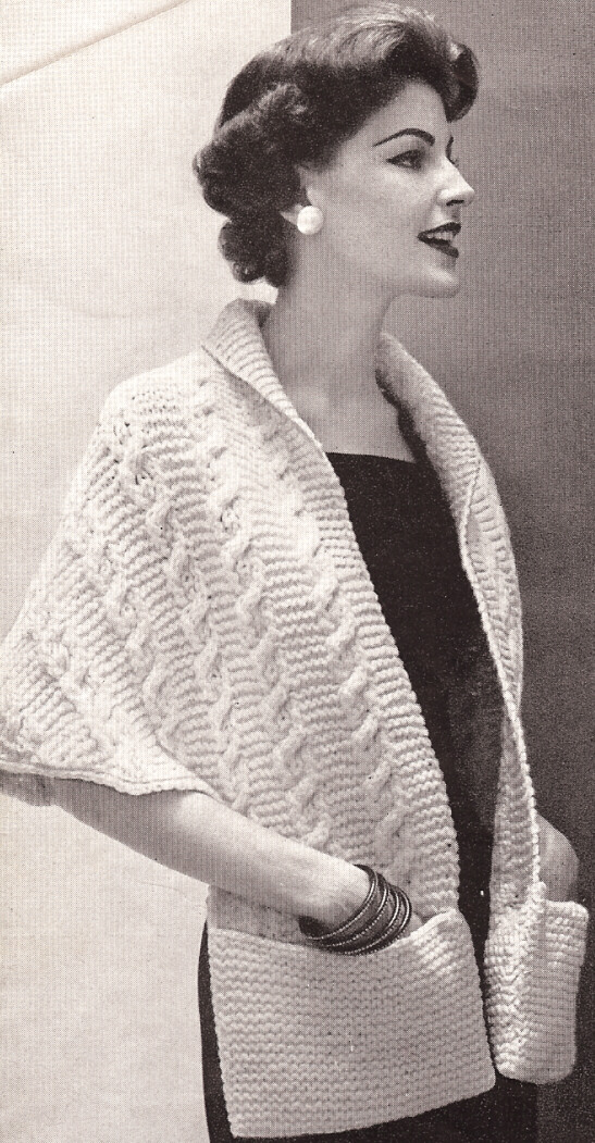 Vintage Shawl Knitting Patterns : Vintage Knitting PATTERN to make Pocket-Sweater-Shawl Cable Wrap Reading Sewi...