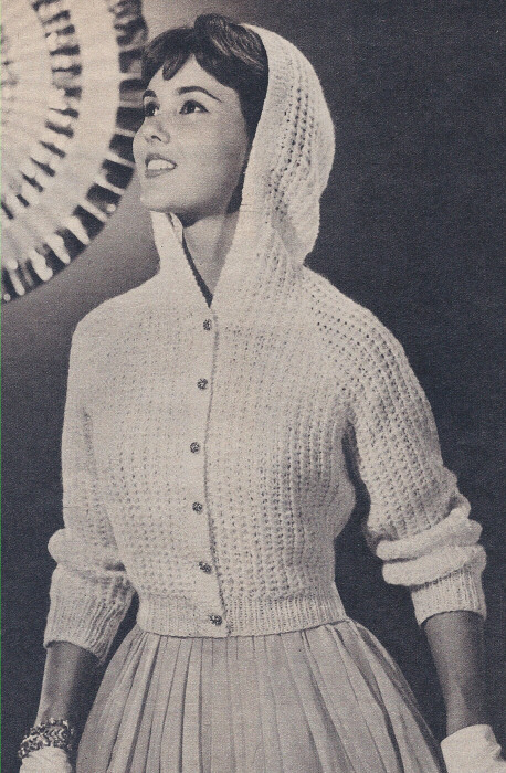 Vintage Knitting PATTERN to make Hooded Sweater Jacket Cardigan EveningHooded...