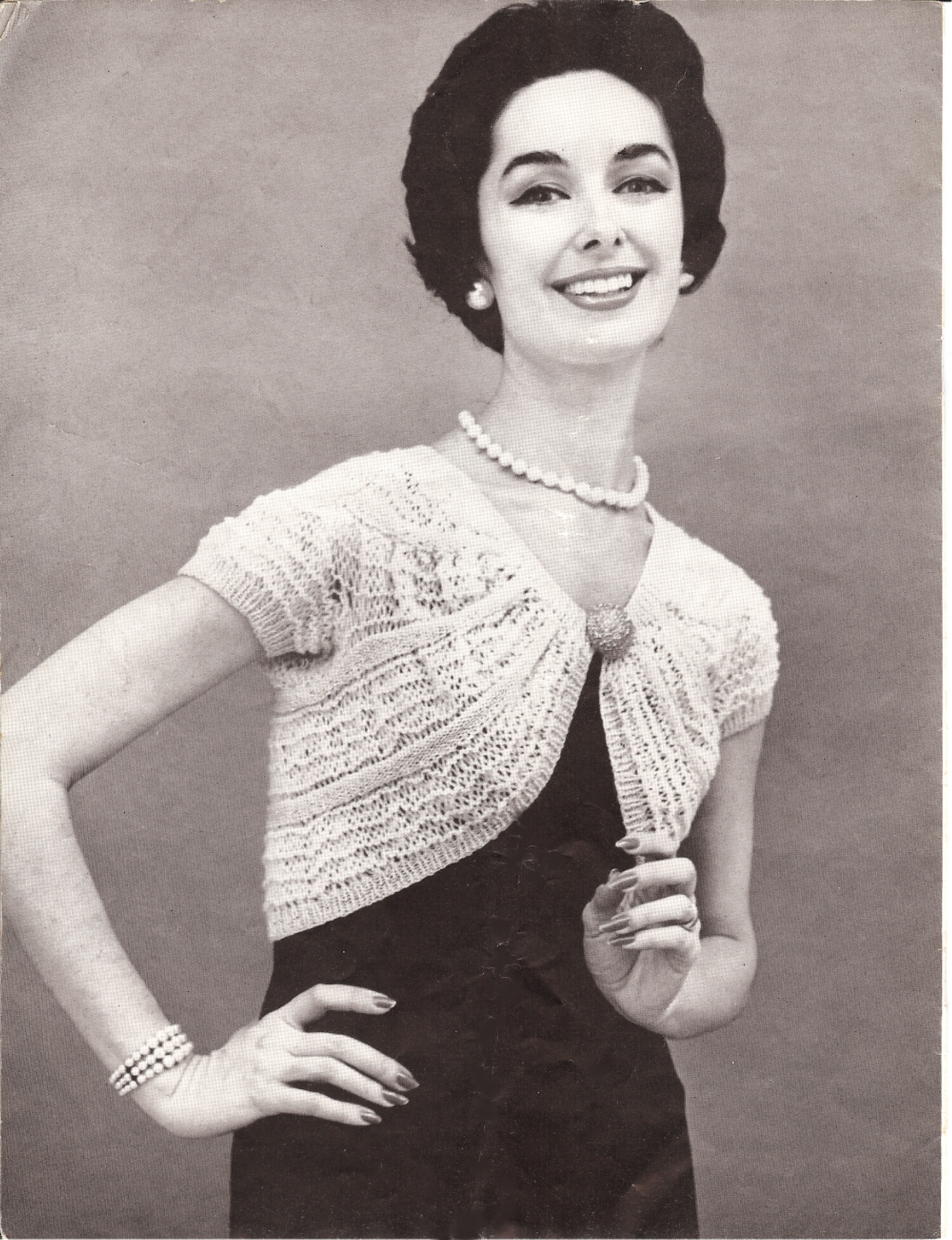 Knitting Pattern For Bolero Shrug : Vintage Knitting PATTERN to make Lacy Bolero Shrug Jacket 1950s GatheredBoler...