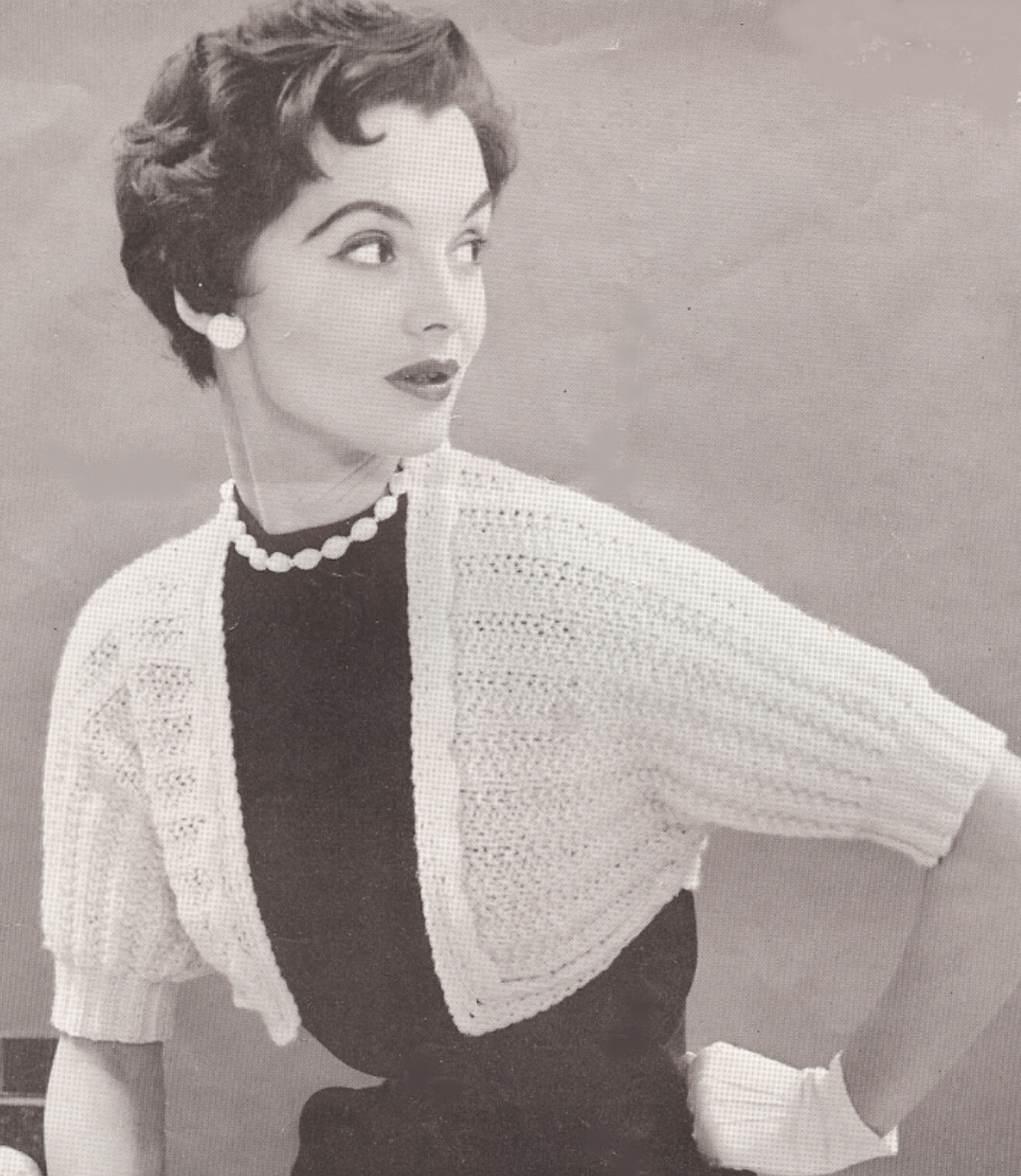 Vintage knitting pattern to make designer bolero shortie for Designer bolero