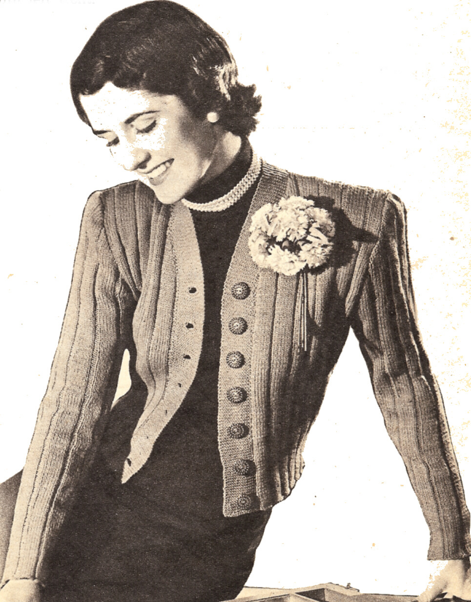 Knitting Patterns For Jackets Cardigan : Vintage Knitting Pattern to Make Knit Short Cardigan Jacket Sweater