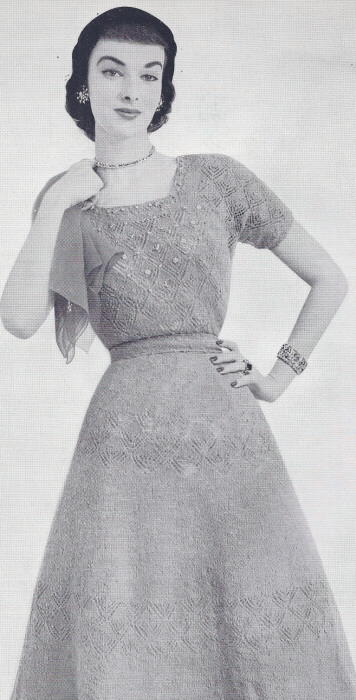 Knitting Patterns Lace Dress : Vintage Knitting PATTERN to make Knitted Lace Formal Evening Cocktail Dress ...
