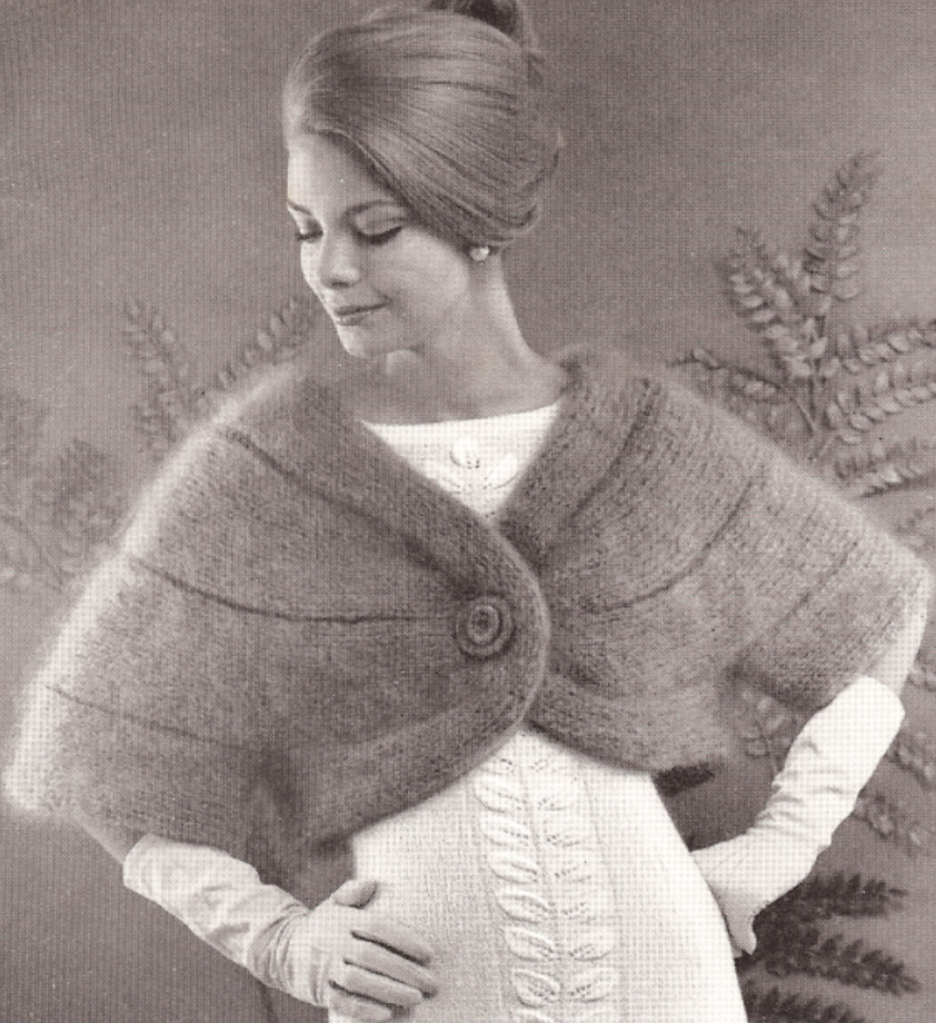 Knitting Pattern For Cape With Sleeves : Vintage Cape Stole w/Sleeves Designer Knitting PATTERN eBay